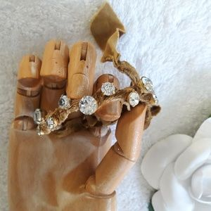 Anthropologie crystal & gold velvet bracelet